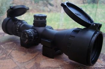 Leapers 3-9x32 Bug Buster AO CQB Compact RGB IR Turret Rifle Scope + QD Picatinny Rings, Flip Caps, Sunshade